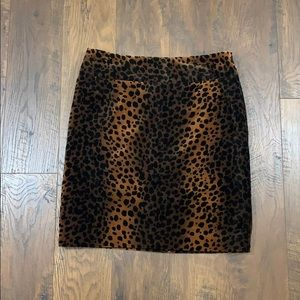 Rafaella cheetah velvet pencil skirt